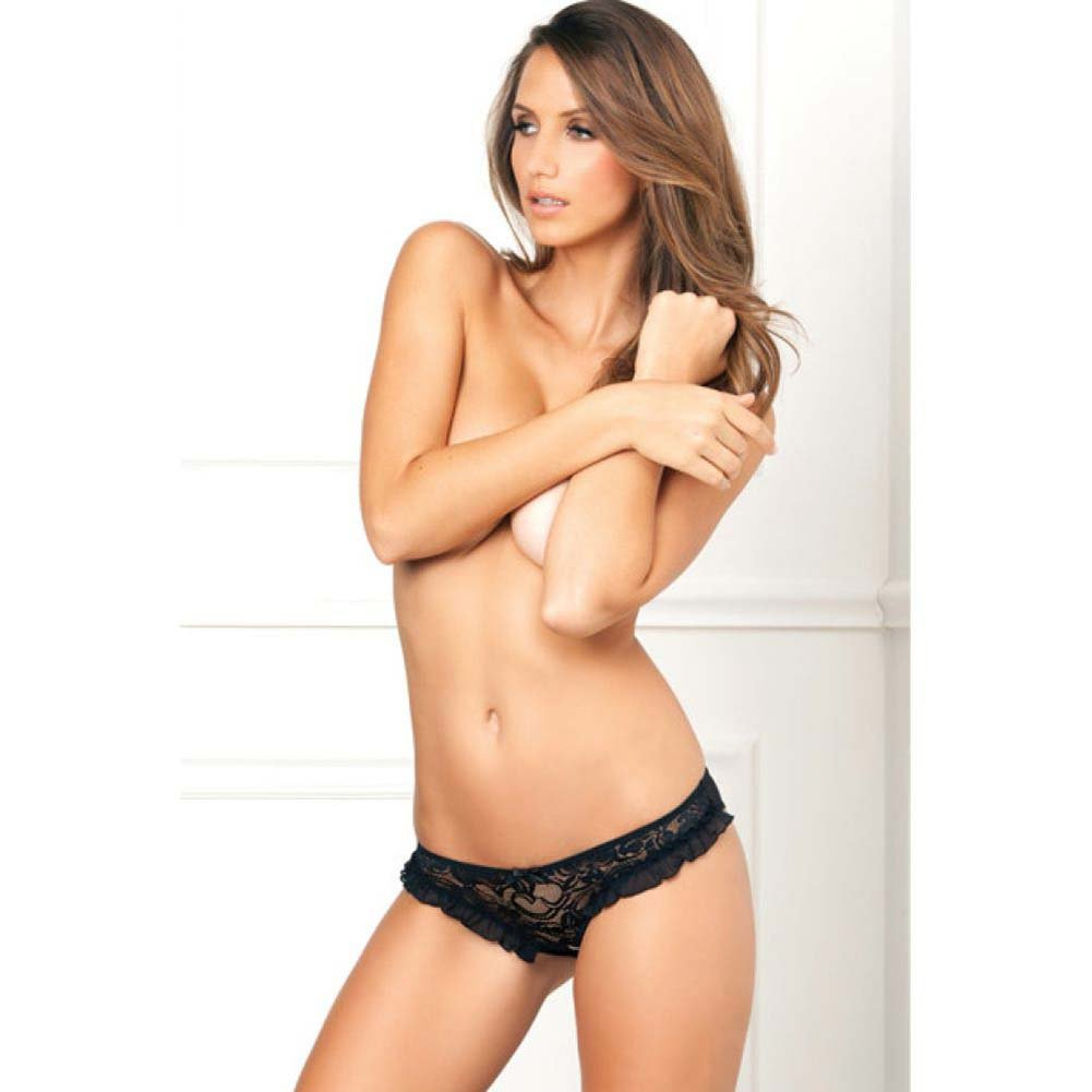 Rene Rofe Crotchless Floral Lace Ruffle Panty Small/Medium Black - View #3