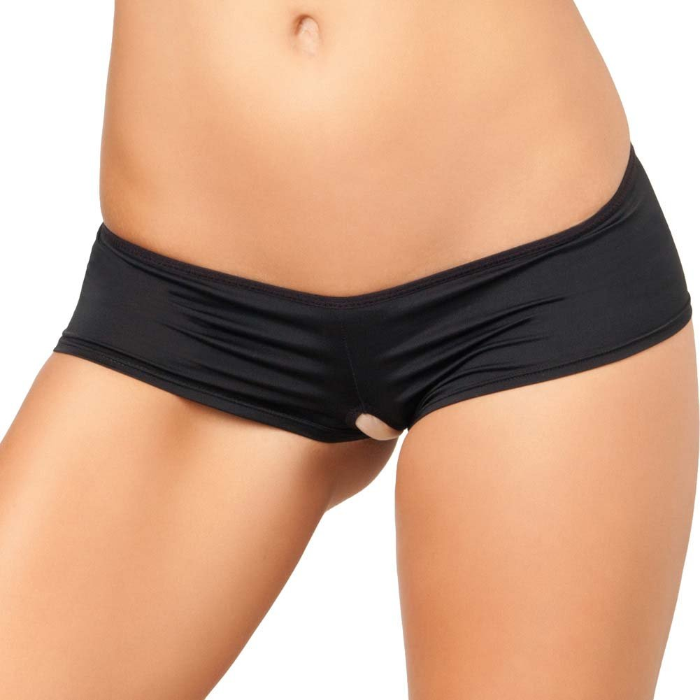 Rene Rofe Crotchless Lace Up Back Panty Medium/Large Black - View #2