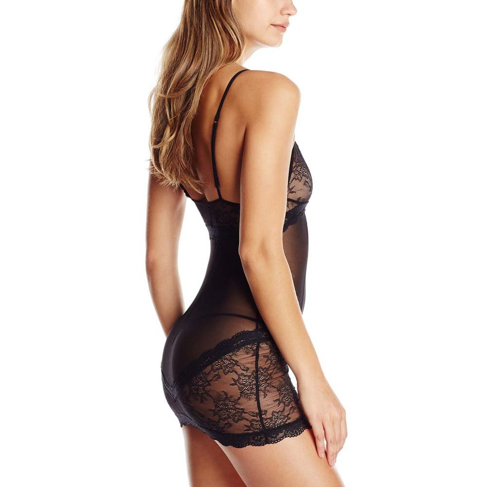 Rene Rofe 2 Piece Sophisticated Lace Chemise and G-String Set Medium/Large Black - View #2