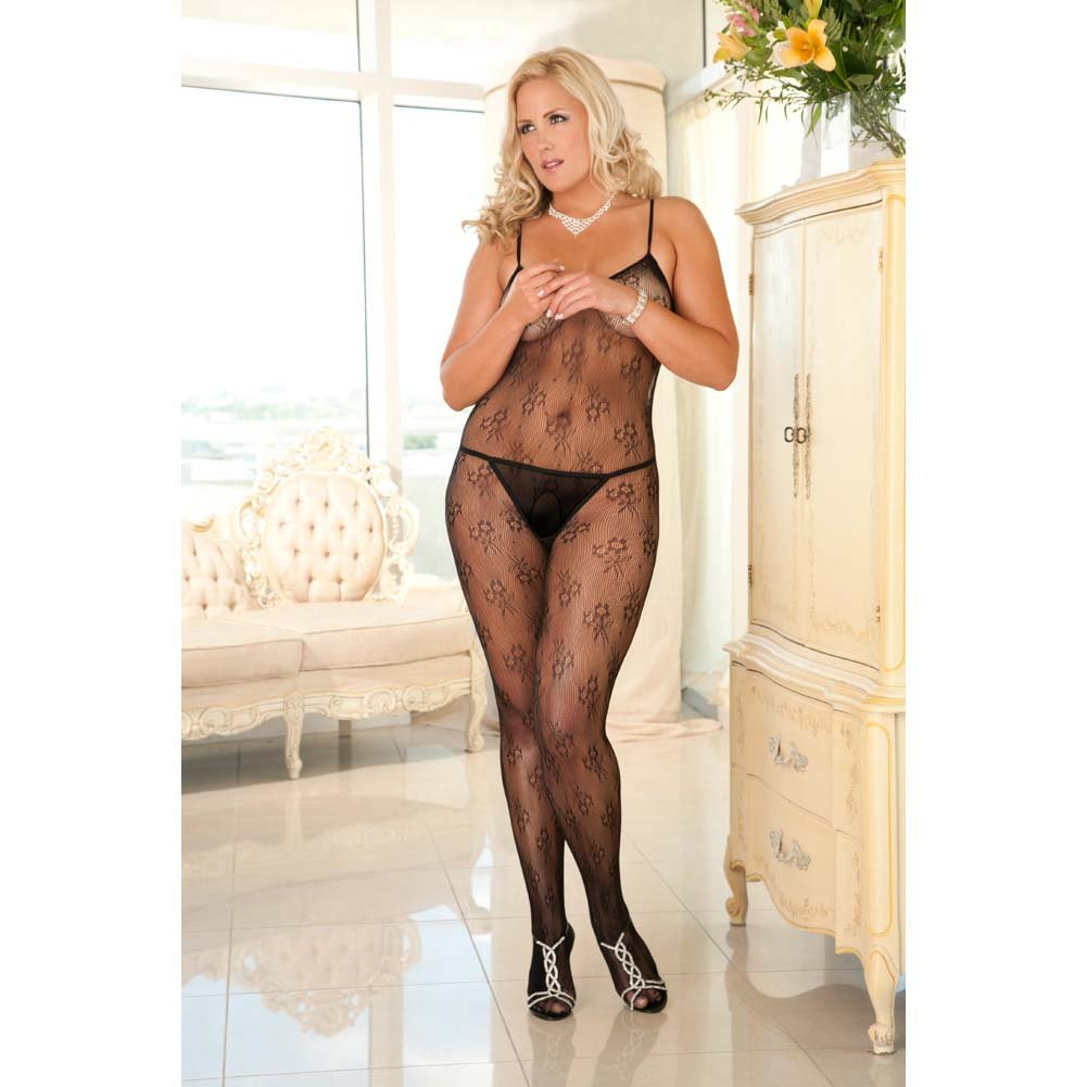 Rene Rofe Floral Lace Bodystocking Queen Size Black - View #2