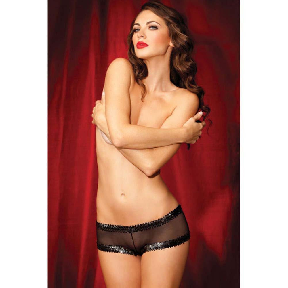 Rene Rofe Show Girl Fishnet Sequin Boyshort Panty Large Black - View #3