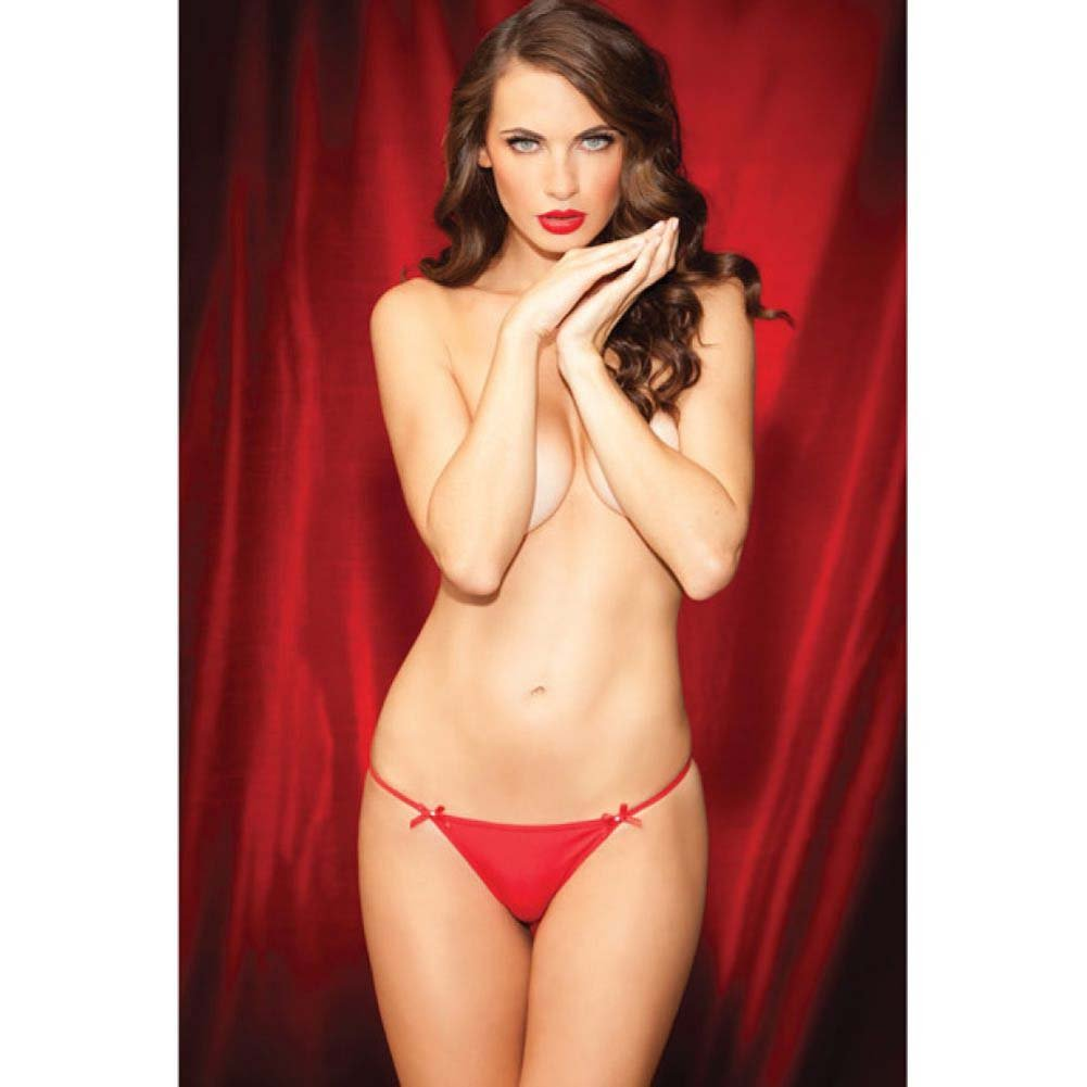 Rene Rofe Show Girl Glamorous Rhinestone Back G-String Large Red - View #3