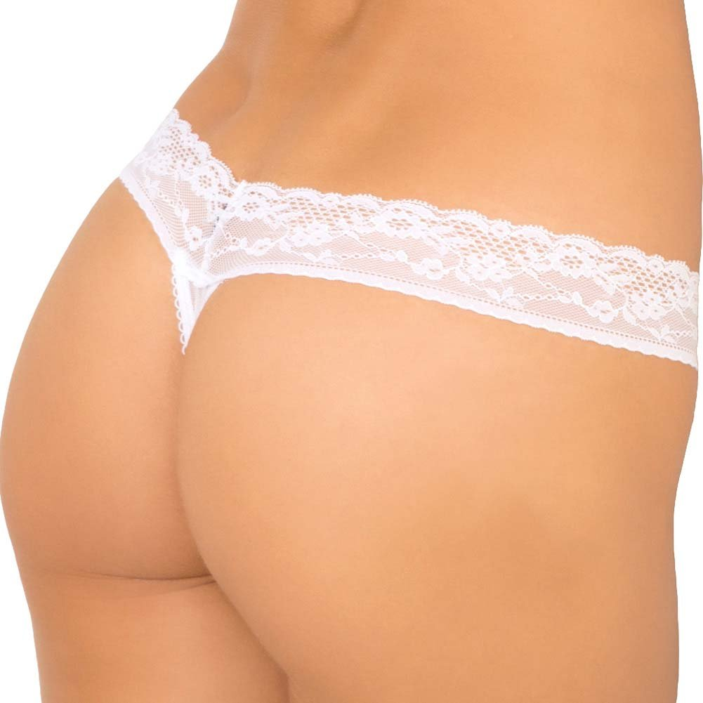 Rene Rofe Show Girl No Pinch Lace Waist Sequin Thong Mesh Back Small White - View #2