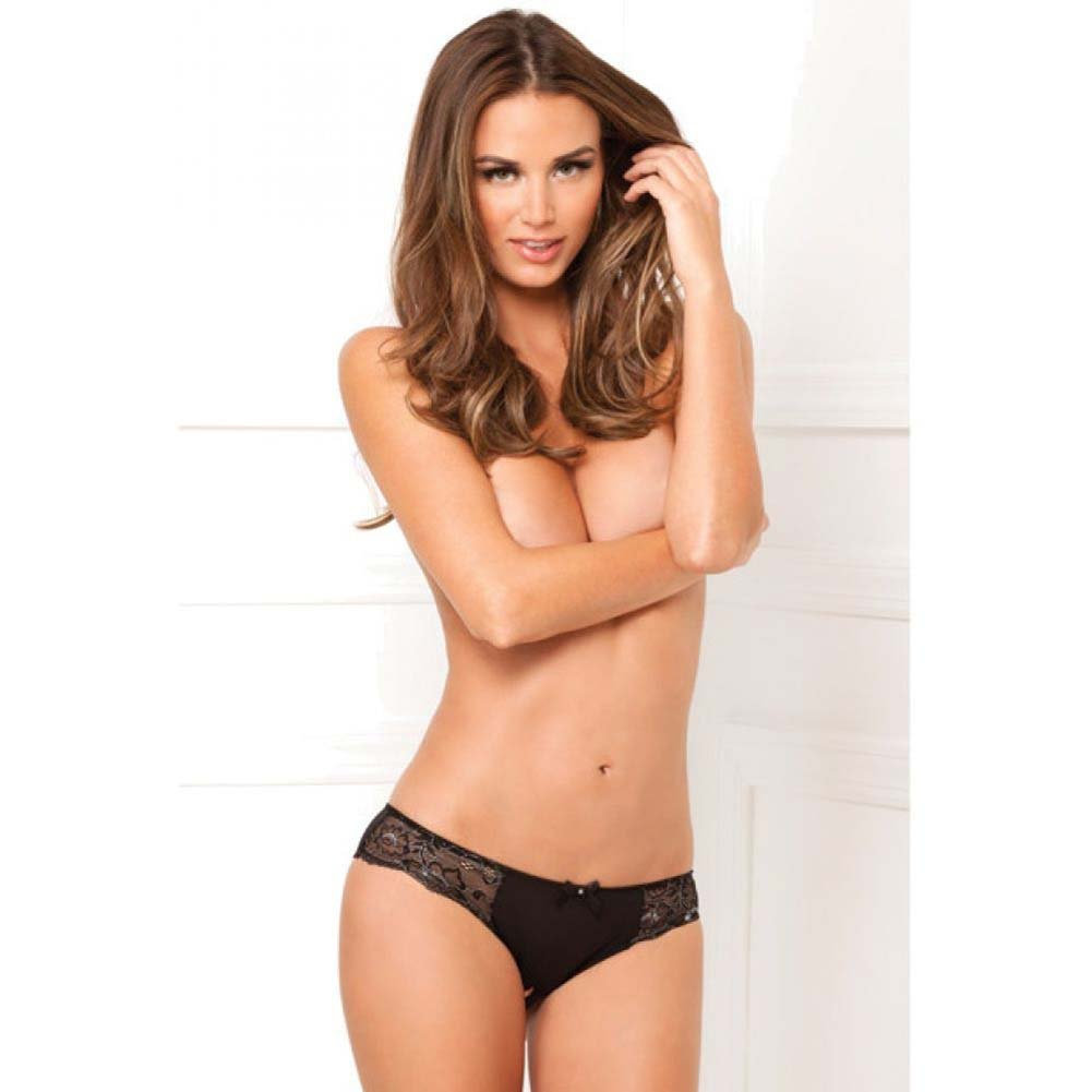 Rene Rofe Dirty Secrets Crotchless Lace Panty Small/Medium Black - View #3