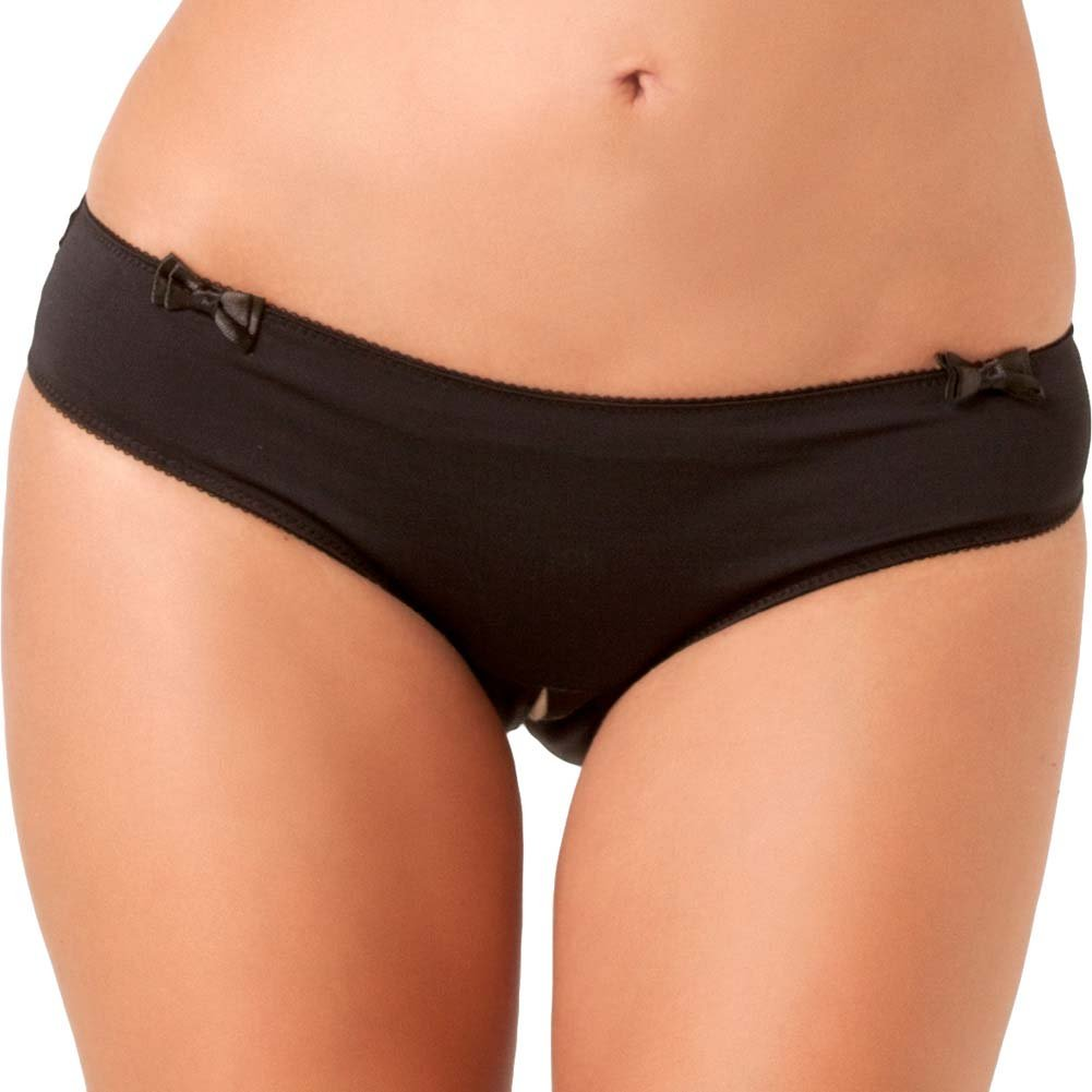 Rene Rofe Black Magic Crotchless Open Back Panty Small/Medium Black - View #2