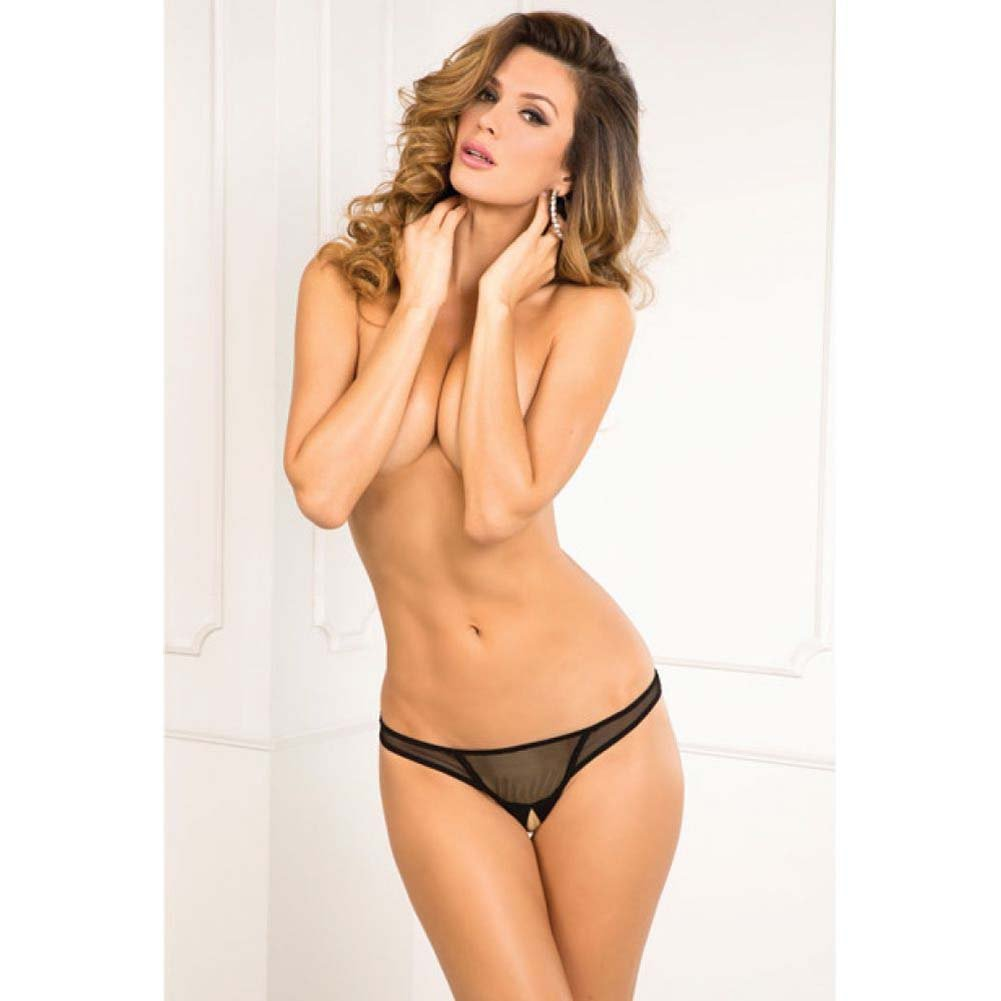 Rene Rofe Crotchless Open Mind G-String Medium/Large Black - View #3