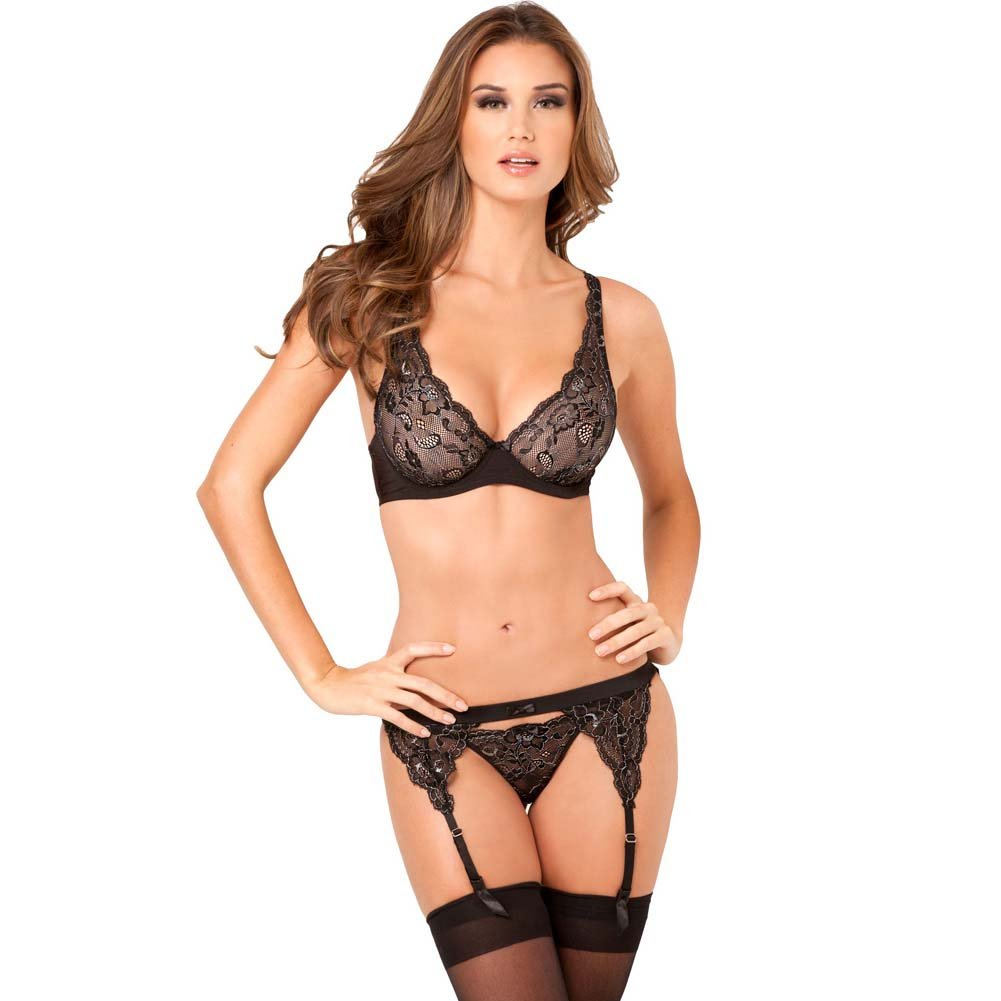 Rene Rofe 3 Piece Lux Lace Lurex Garter and Thong Set Small/Medium Black - View #1