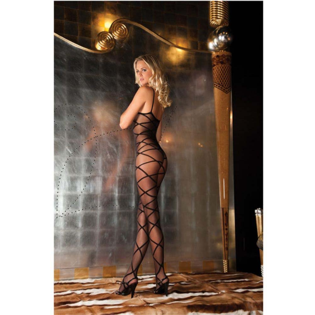 Rene Rofe Strapped Up Sheer Bodystocking One Size Black - View #2