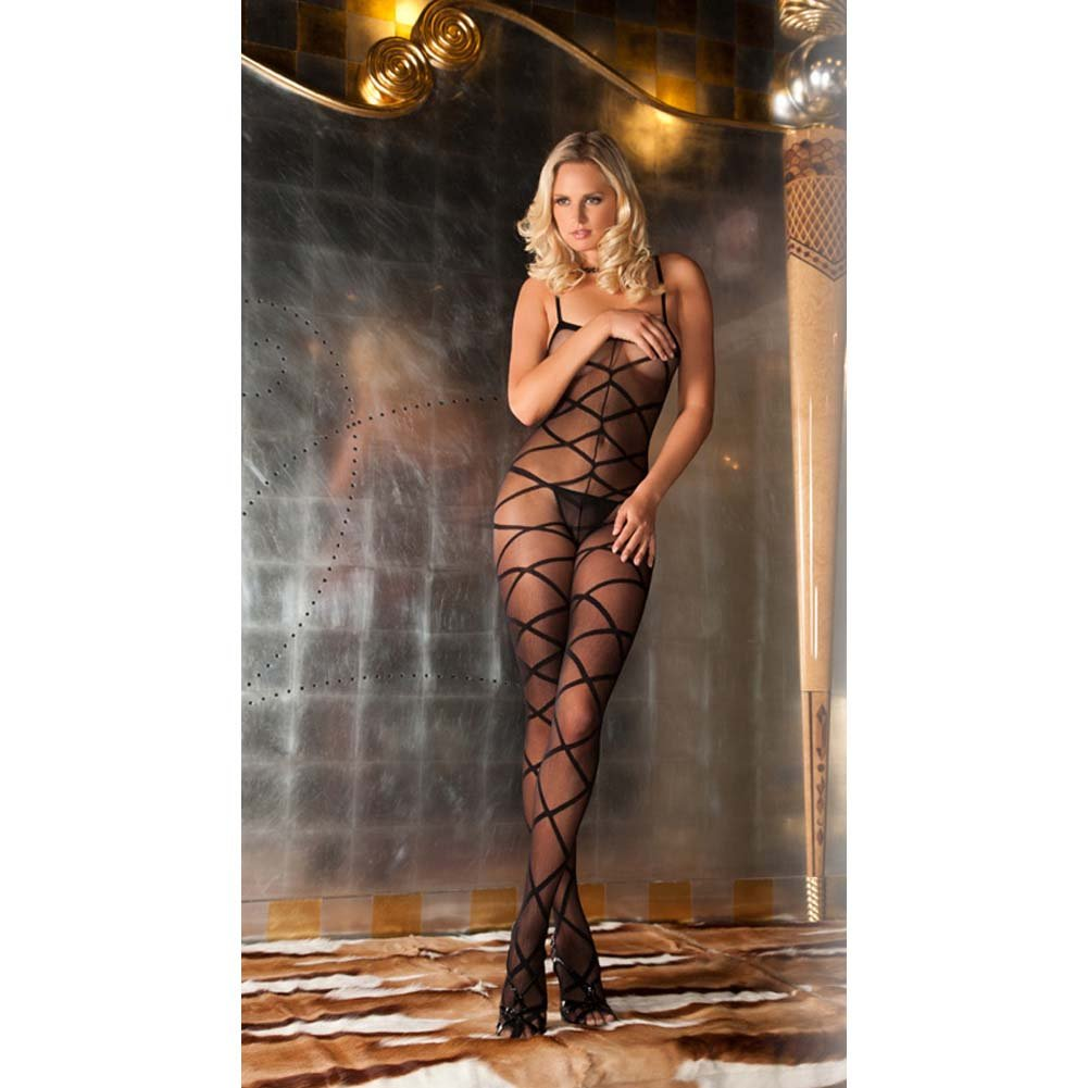 Rene Rofe Strapped Up Sexy Sheer Bodystocking One Size Classic Black - View #4