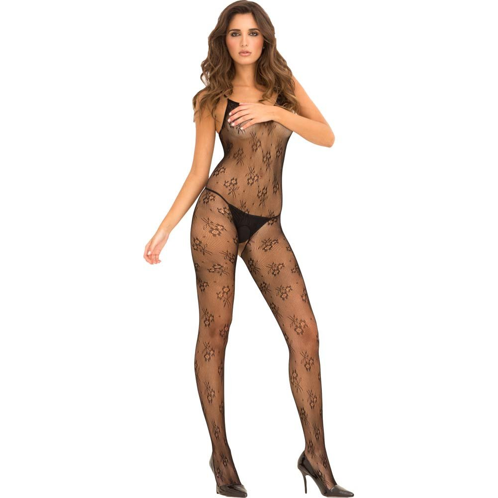 Rene Rofe Floral Lace Bodystocking One Size Black - View #1