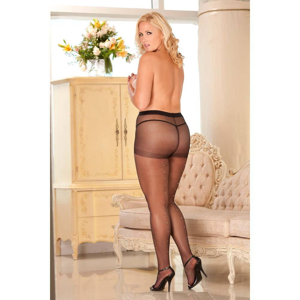Rene Rofe Rhinestone Sheer Pantyhose Queen Size Black - View #2