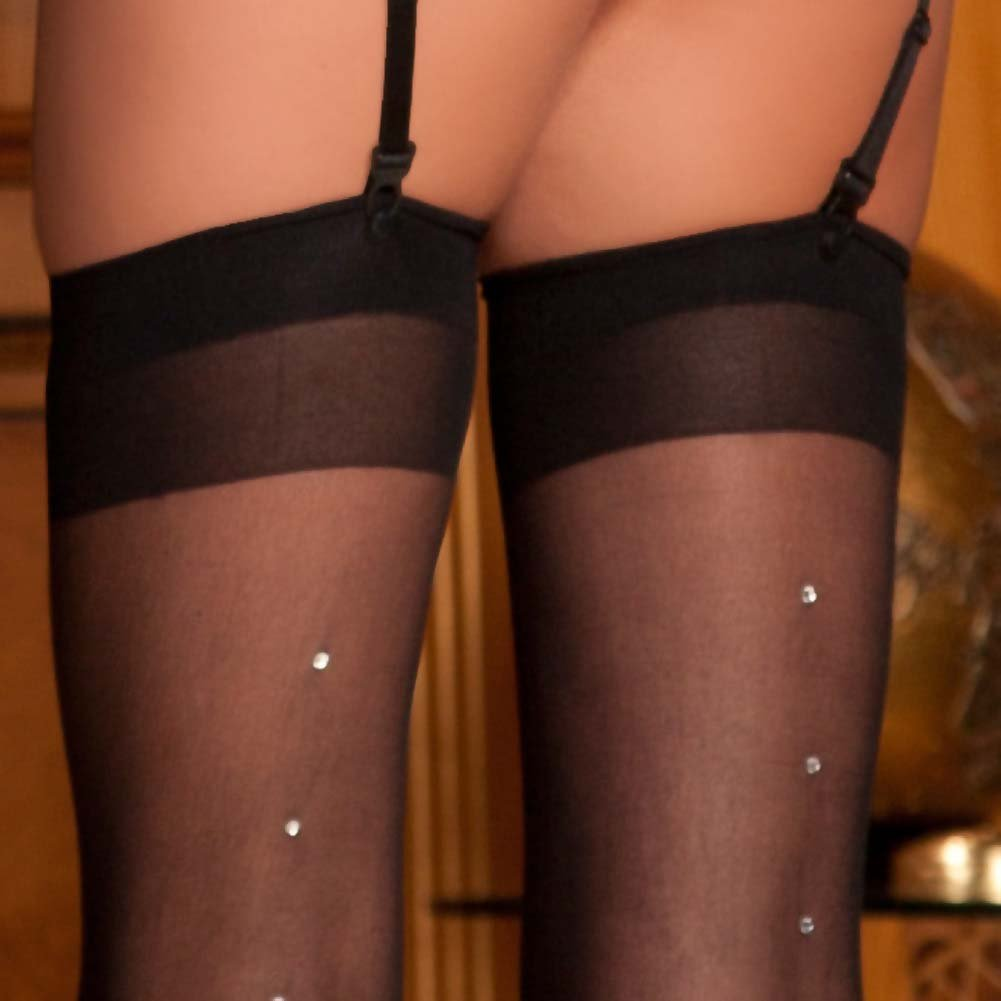 Rene Rofe Sheer Rhinestones Thigh Highs One Size Black - View #3