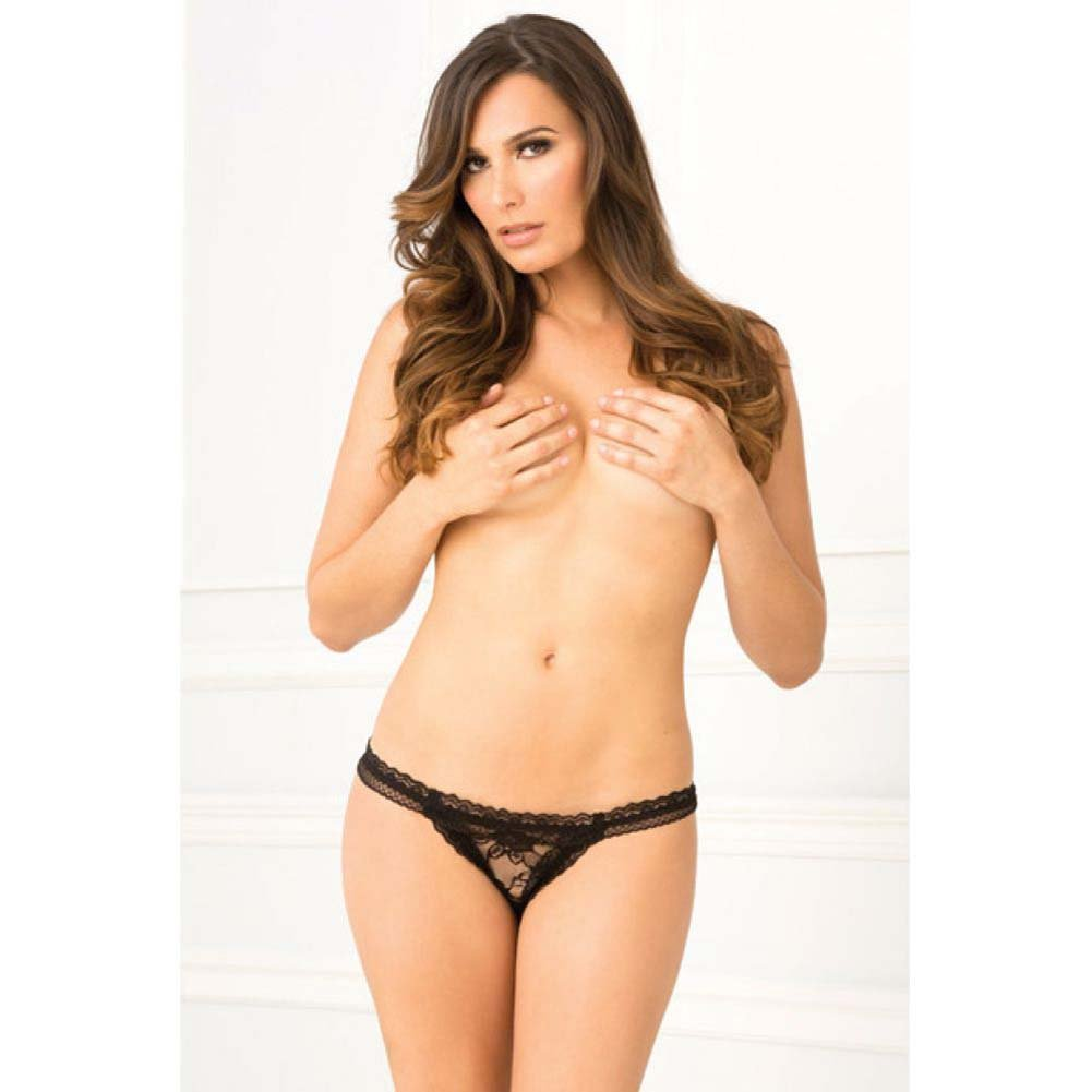 Rene Rofe Crotchless Lace Panty Medium/Large Black - View #3