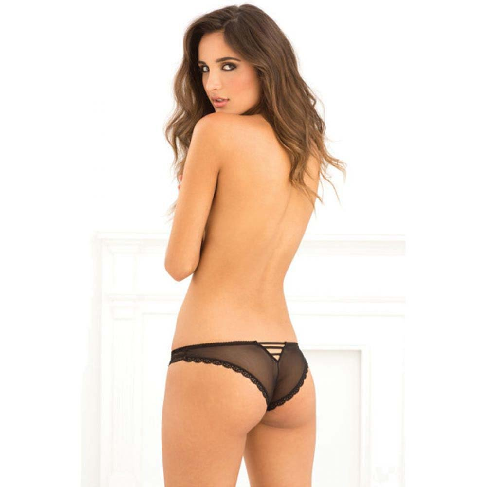 Rene Rofe Crotchless Lace V-Back Panty Small/Medium Black - View #4