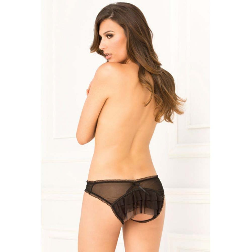 Rene Rofe Layer Cake Ruffle Back Crotchless Panty Medium/Large Black - View #3