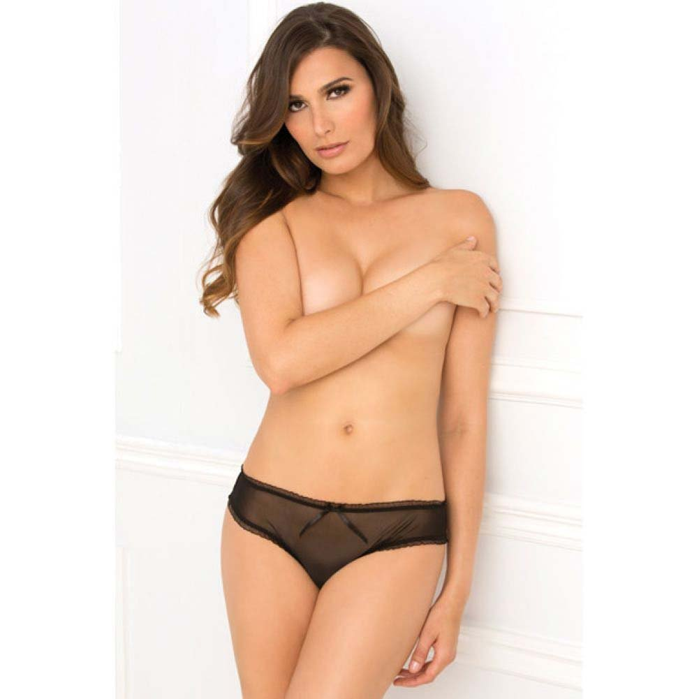 Rene Rofe Layer Cake Ruffle Back Crotchless Panty Small/Medium Black - View #4