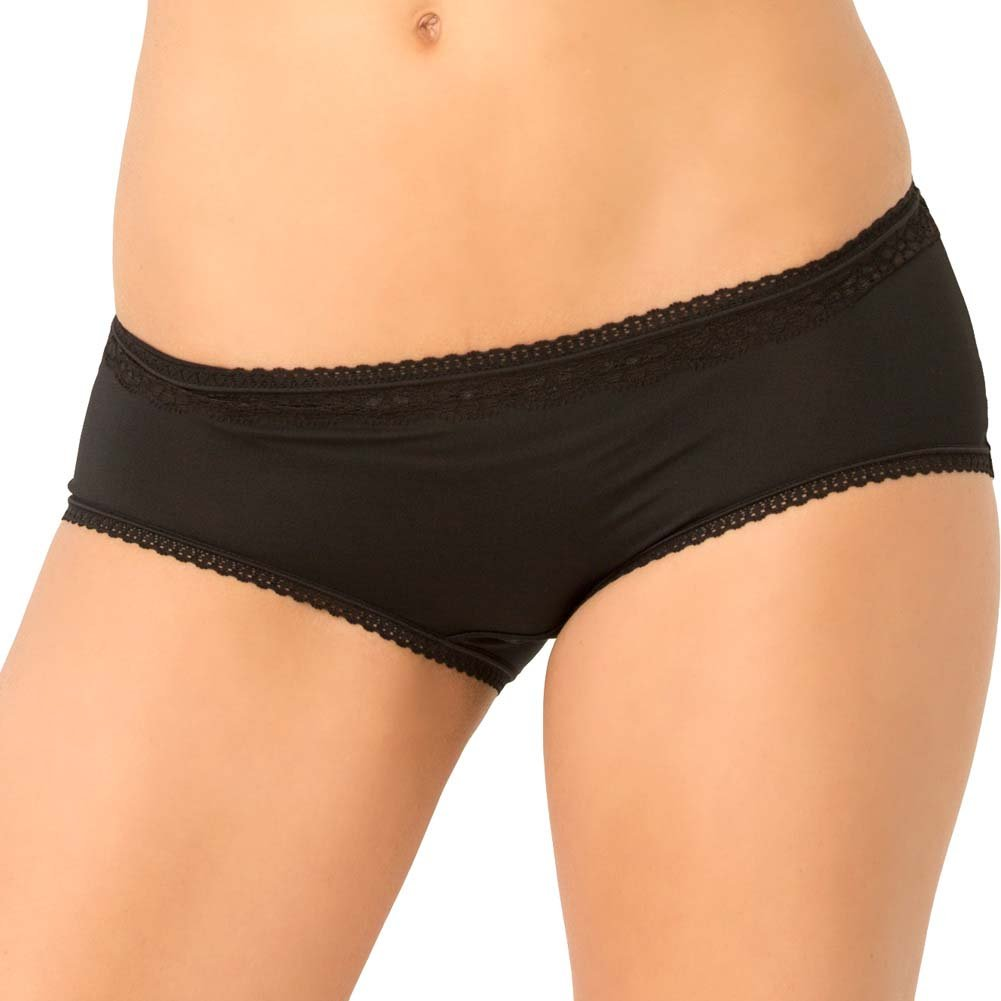 Rene Rofe Crotchless Open Back Lace Panty Small/Medium Black - View #2