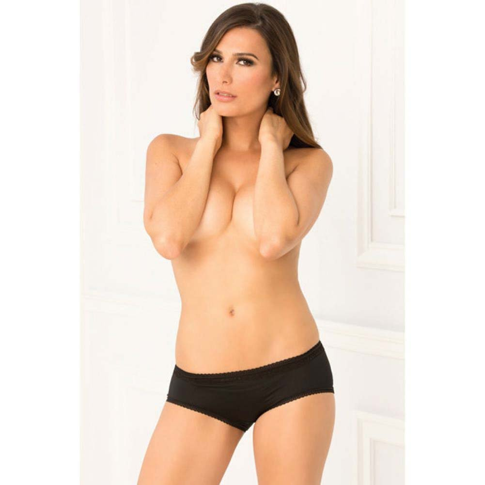 Rene Rofe Crotchless Open Back Lace Panty Small/Medium Black - View #4
