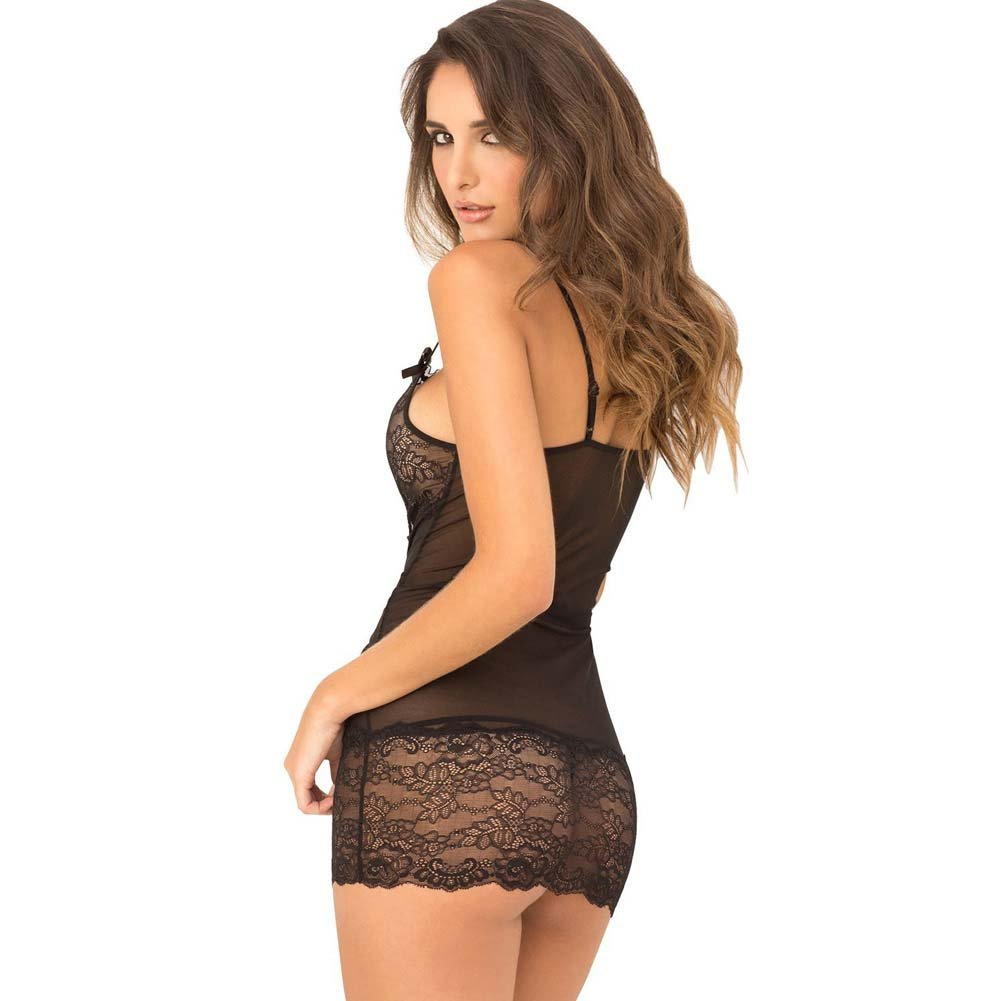 Rene Rofe 2-Piece Lace Front Chemise and G-String Set Small/Medium Black - View #2