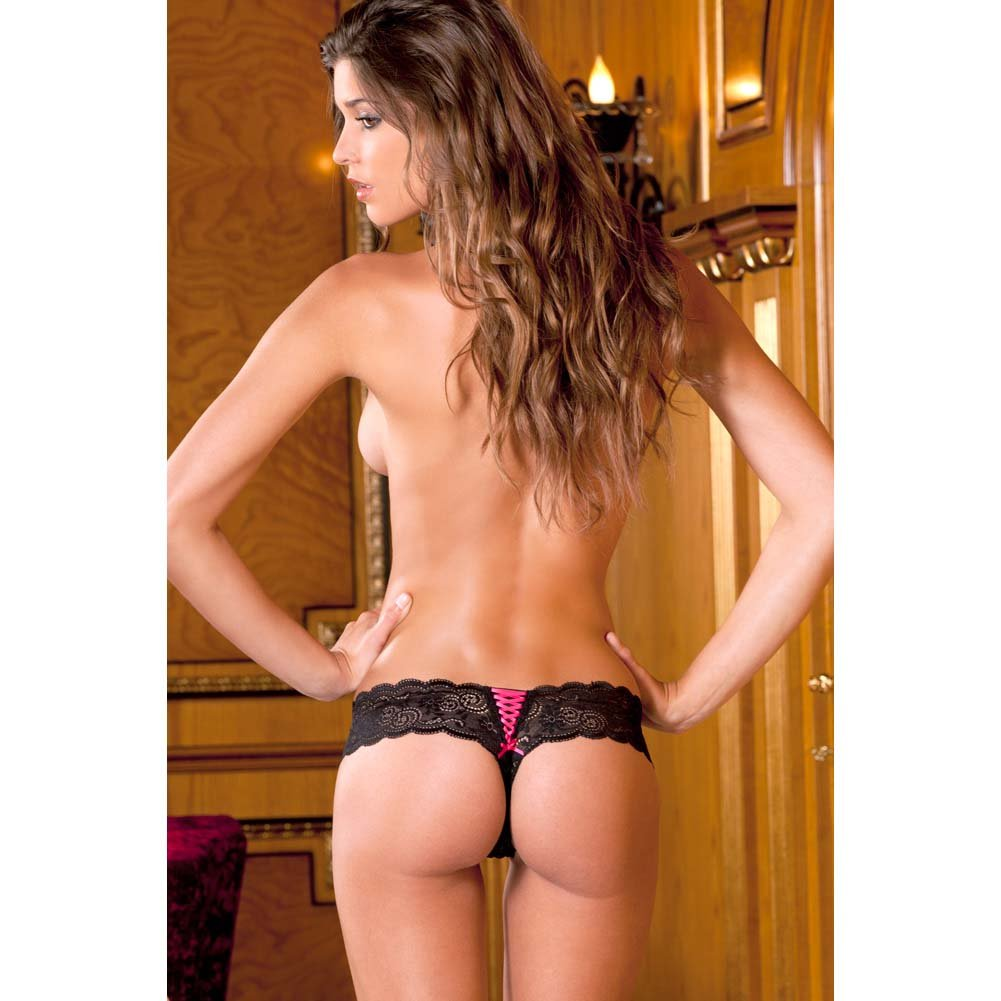 Rene Rofe Crotchless Lace Thong with Lace-Up Back Small/Medium Black - View #3