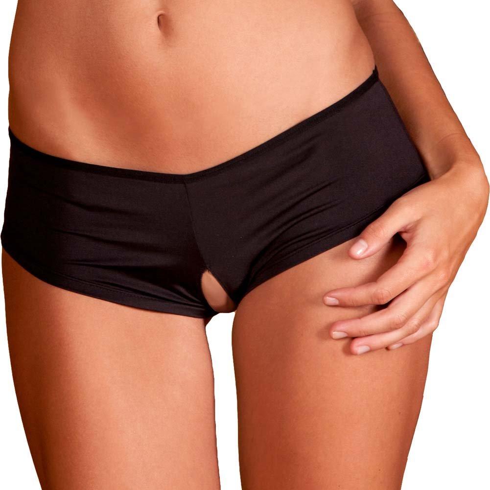 Rene Rofe Crotchless Ribbon-Back Boyleg Panty Medium/Large Black - View #2