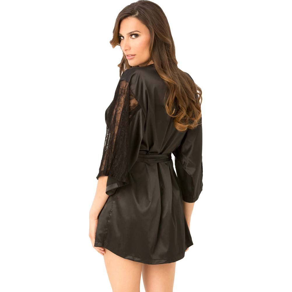 Rene Rofe Satin Robe with Lace Sleeves Medium/Large Black - View #2