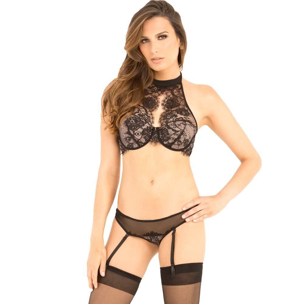 Rene Rofe Lace Choker Bra and Garter G-String Set Small/Medium Black - View #1