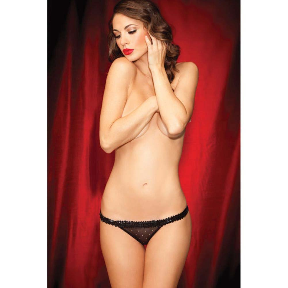 Rene Rofe Show Girl Dazzling G-String Sequin Waistband Panty Medium Black - View #3