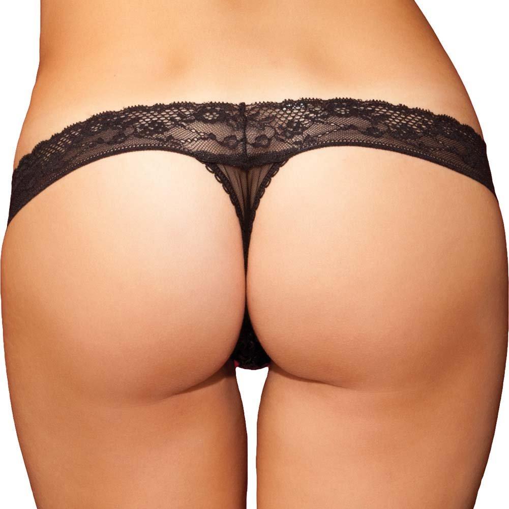 Rene Rofe Show Girl No Pinch Lace Waist Sequin Thong Medium Black - View #2