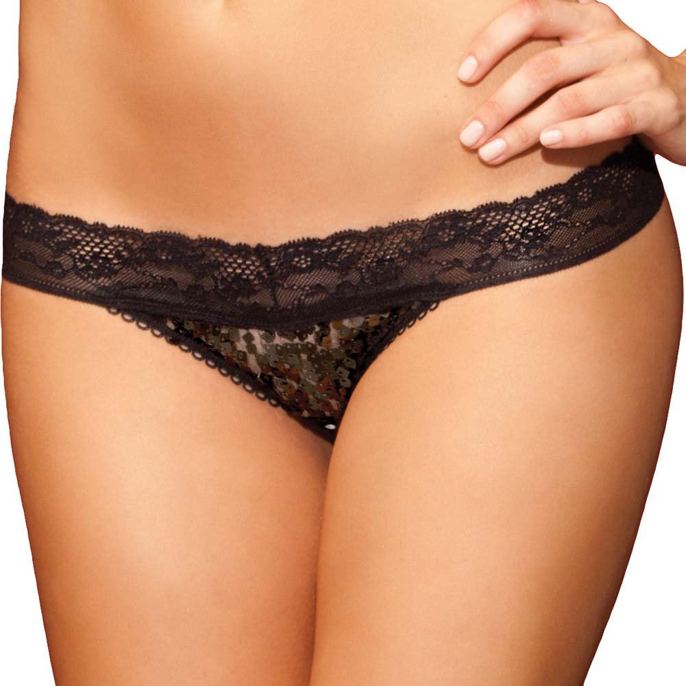Rene Rofe Show Girl No Pinch Lace Waist Sequin Thong Small Black - View #1