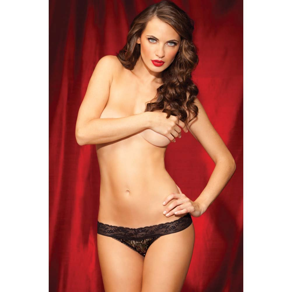 Rene Rofe Show Girl No Pinch Lace Waist Sequin Thong Small Black - View #3