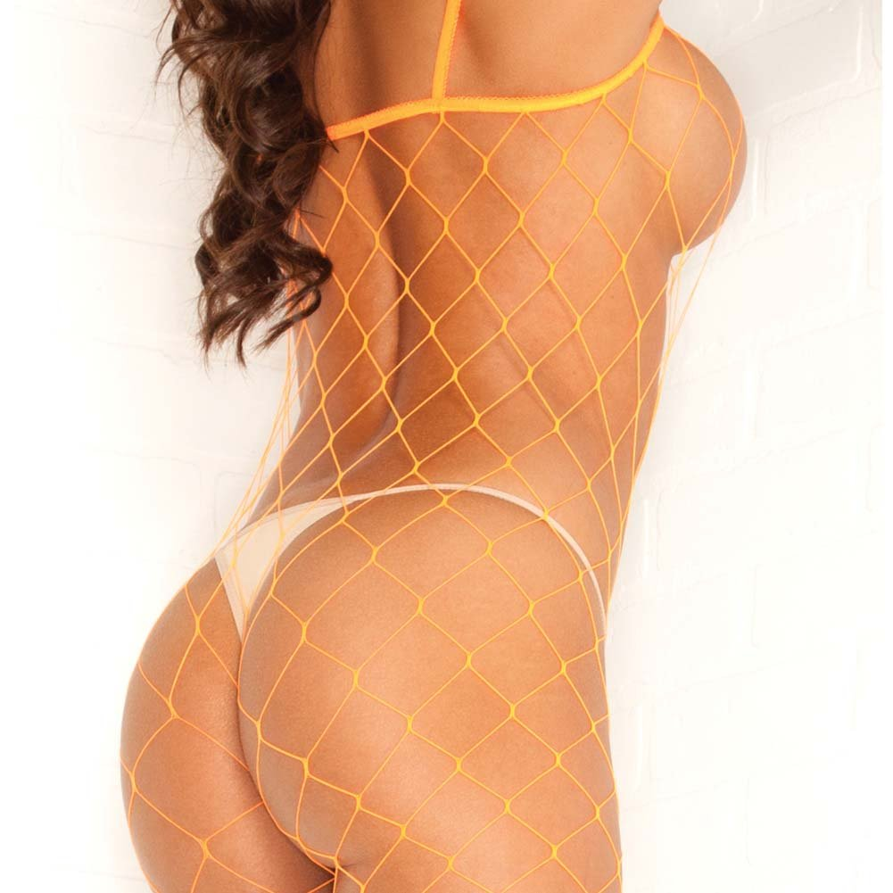 Pink Lipstick Fierce Fence Net Bodystocking One Size Orange - View #4