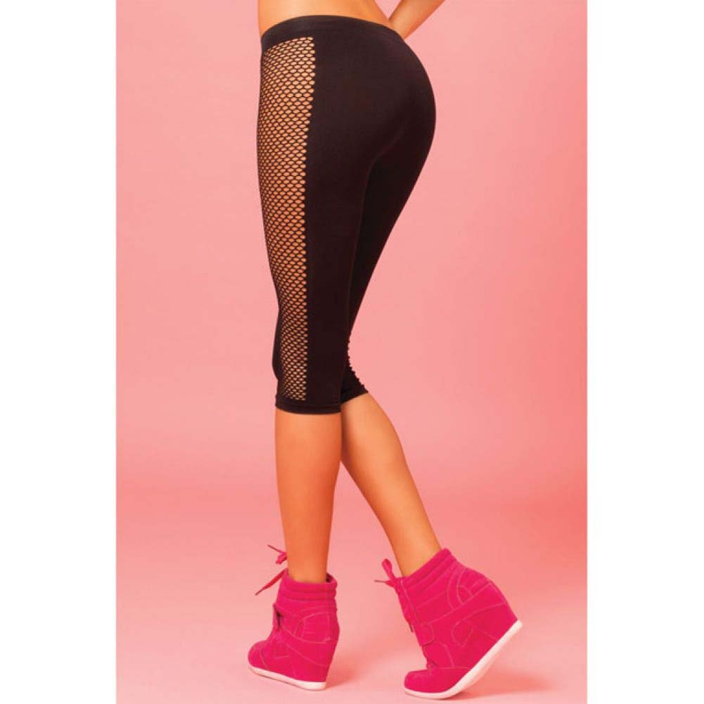 Pink Lipstick Sweat Side Net Stretch Crop Pants for Support and Compression Medium/Large Black - View #4