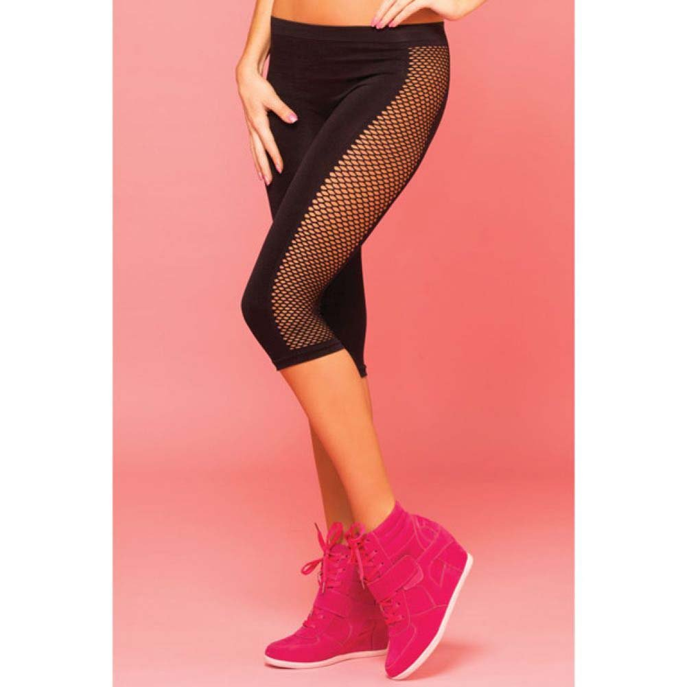 Pink Lipstick Sweat Side Net Stretch Crop Pants for Support and Compression Small/Medium Black - View #3