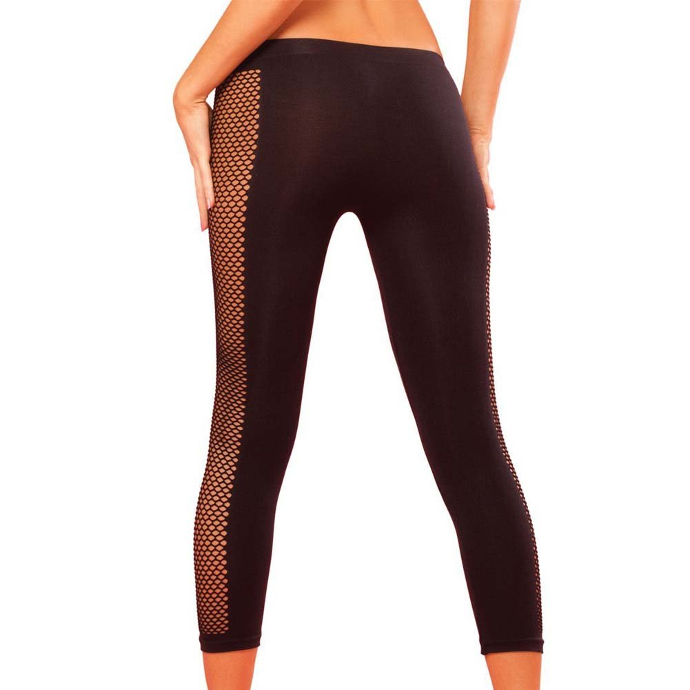 Pink Lipstick Sweat Side Net Stretch Pants for Support and Compression Medium/Large Black - View #2