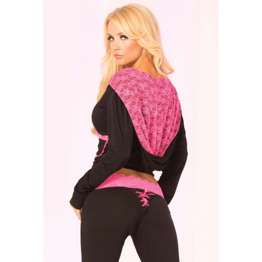 Pink Lipstick Loungewear Lace Trim Cropped Hoodie Large Black - View #4