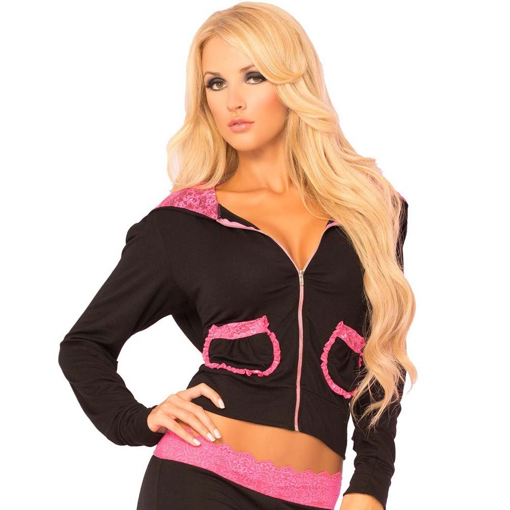 Pink Lipstick Loungewear Lace Trim Cropped Hoodie Medium Black - View #1
