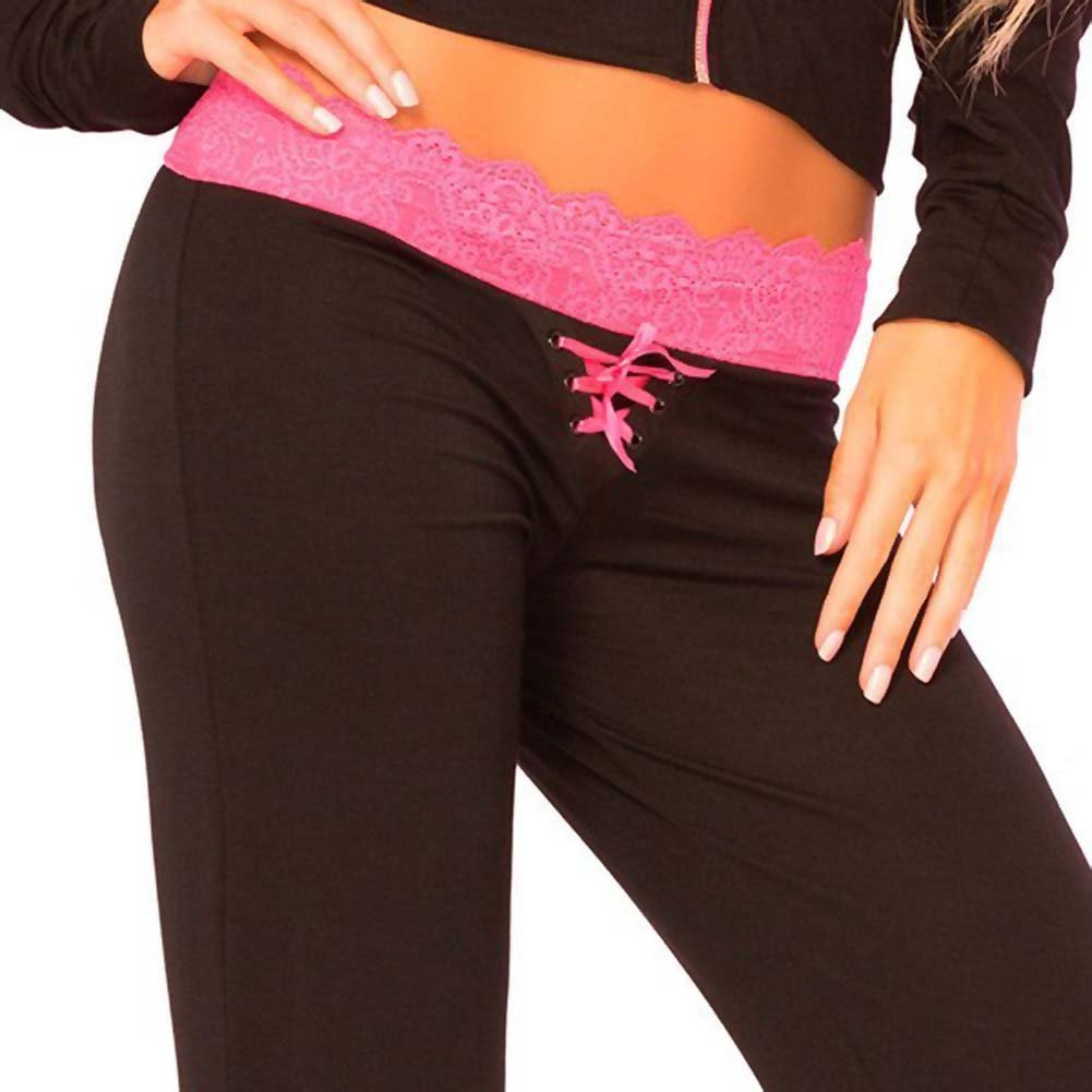 Pink Lipstick Loungewear Lace Trim Lounge Pants Medium Black - View #3