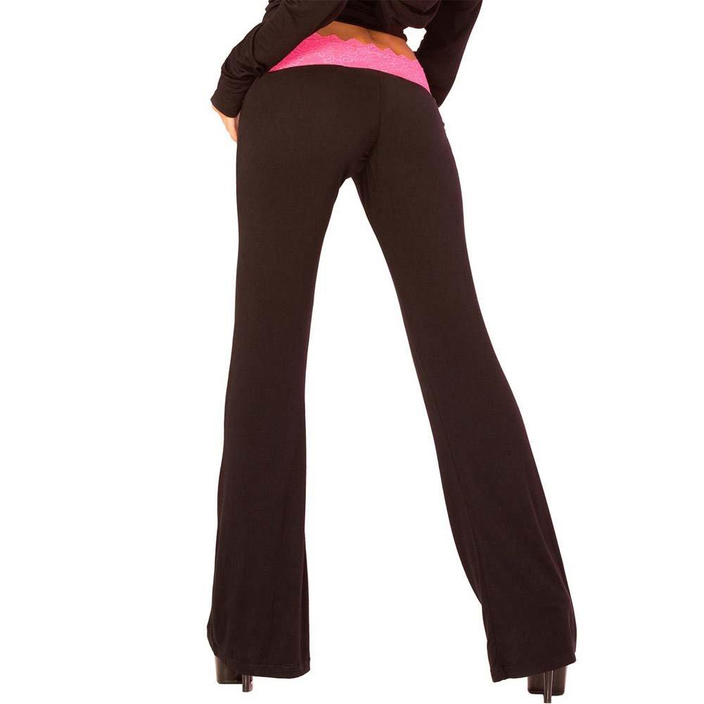 Pink Lipstick Loungewear Lace Trim Lounge Pants Small Black - View #2