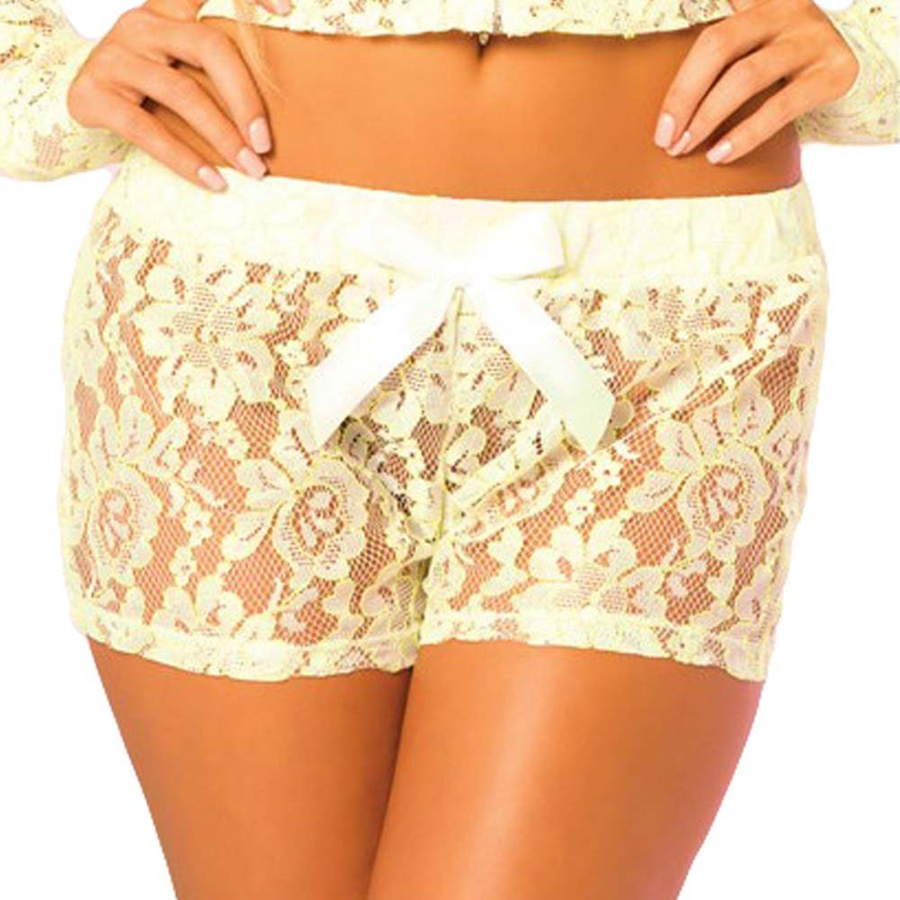 Pink Lipstick Loungewear Luxurious Lace Lounge Shorts Small Green - View #1