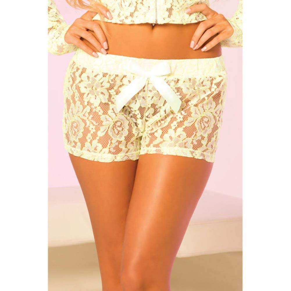 Pink Lipstick Loungewear Luxurious Lace Lounge Shorts Small Green - View #3