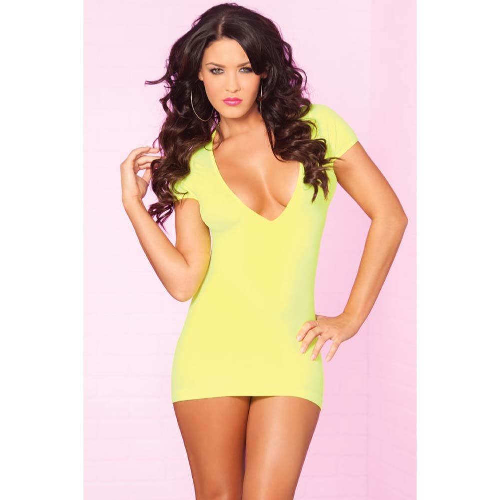 Pink Lipstick Slinky Seamless Mini Dress Super Sexy Back Slits Small/Medium Yellow Black Light - View #2