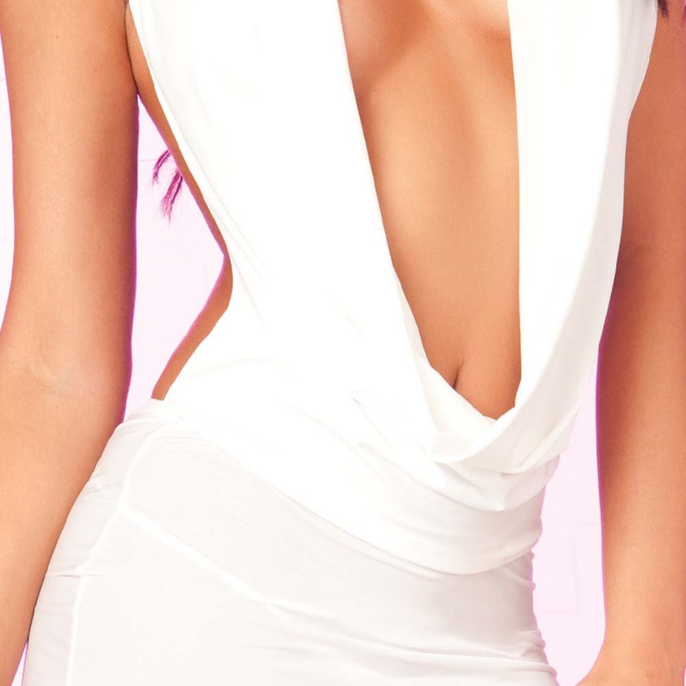 Pink Lipstick Drape Front Floor Length Dress G-String Medium/Large White Black Light - View #4