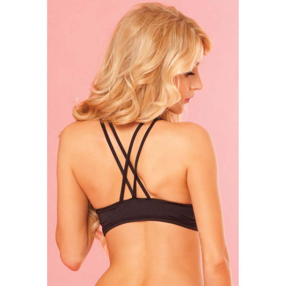 Pink Lipstick Sweat Strappy and Supportive Sports Bra with Secret Pocket Large Black - View #4
