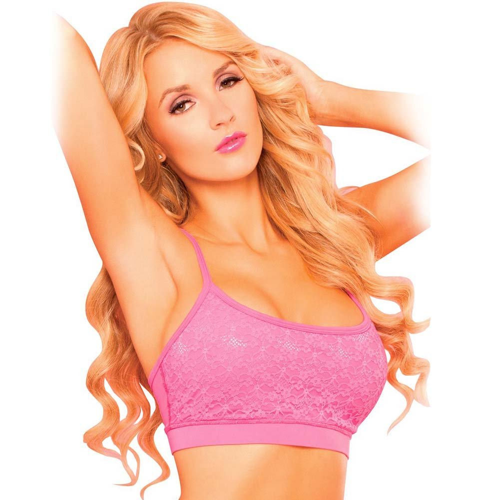 Pink Lipstick Sweat Lacy Sports Bra with Secret Pocket and Removable Pad Large Pink - View #1