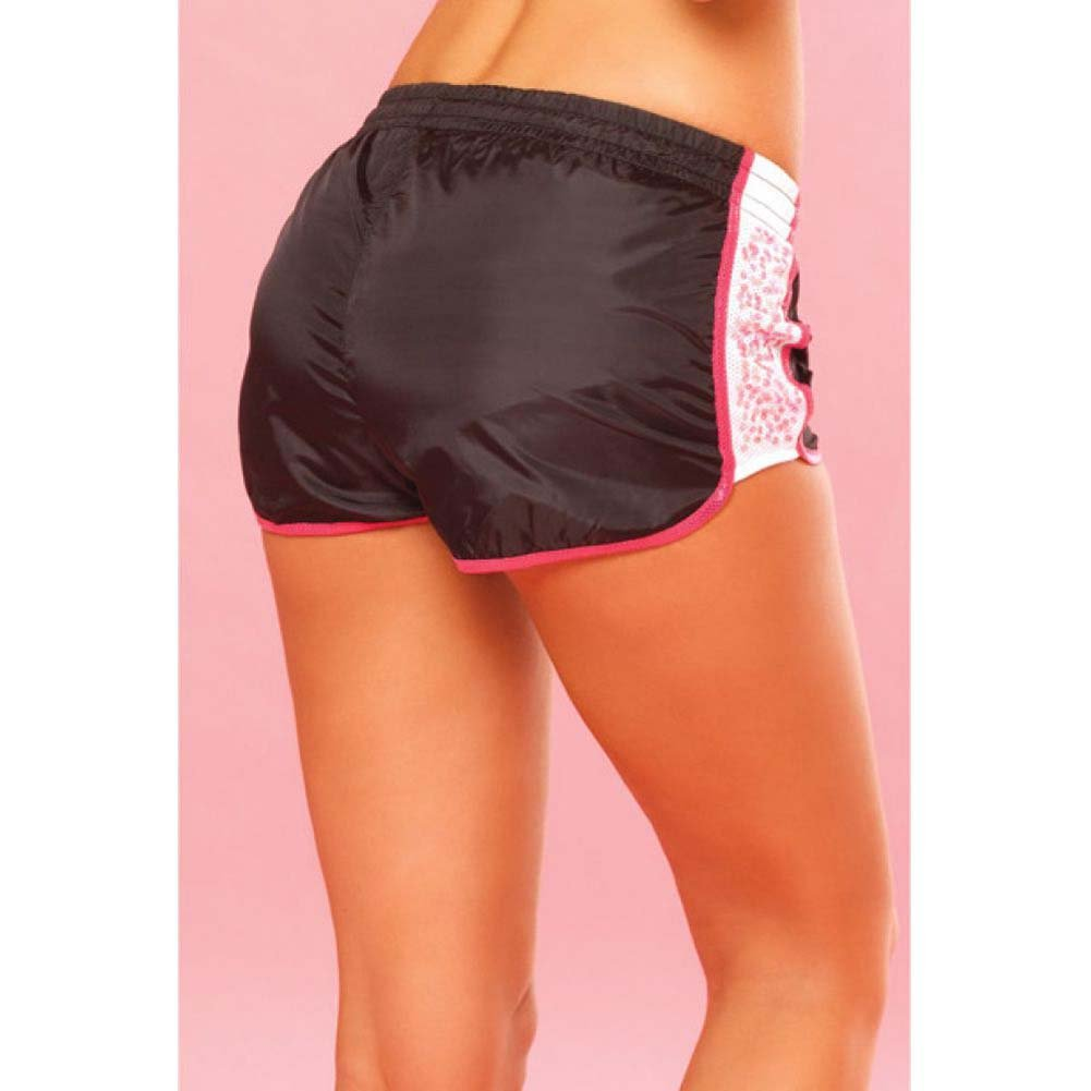 Pink Lipstick Sweat Sequin Running Shorts with Built in Panty Large Black - View #4
