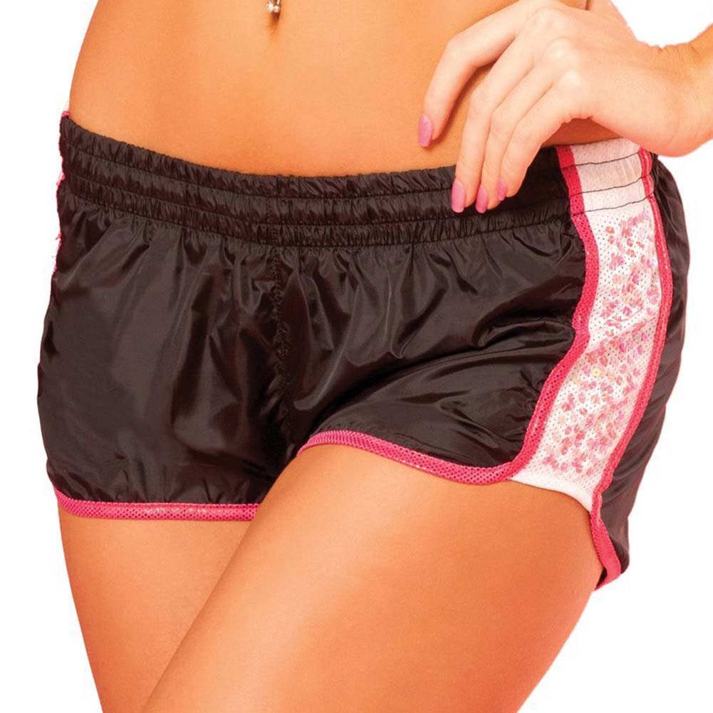 Pink Lipstick Sweat Sequin Running Shorts with Built in Panty Medium Black - View #1