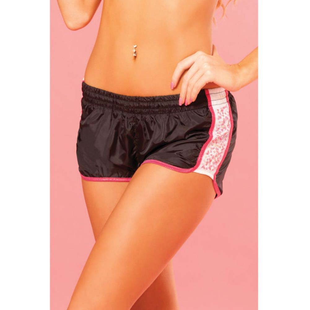 Pink Lipstick Sweat Sequin Running Shorts with Built in Panty Medium Black - View #3