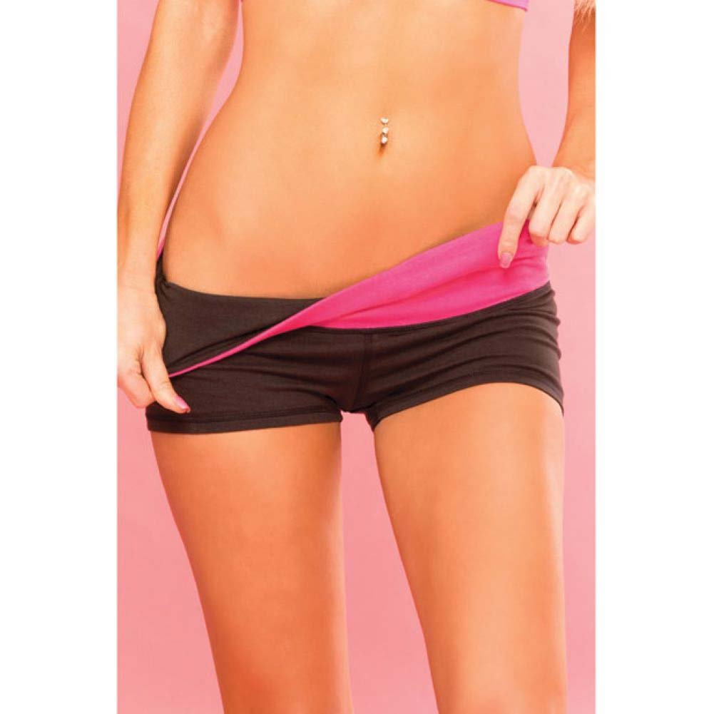 Pink Lipstick Sweat Yoga Shorts Thick Reversible Supprt and Compression with Pocket Medium Black - View #3