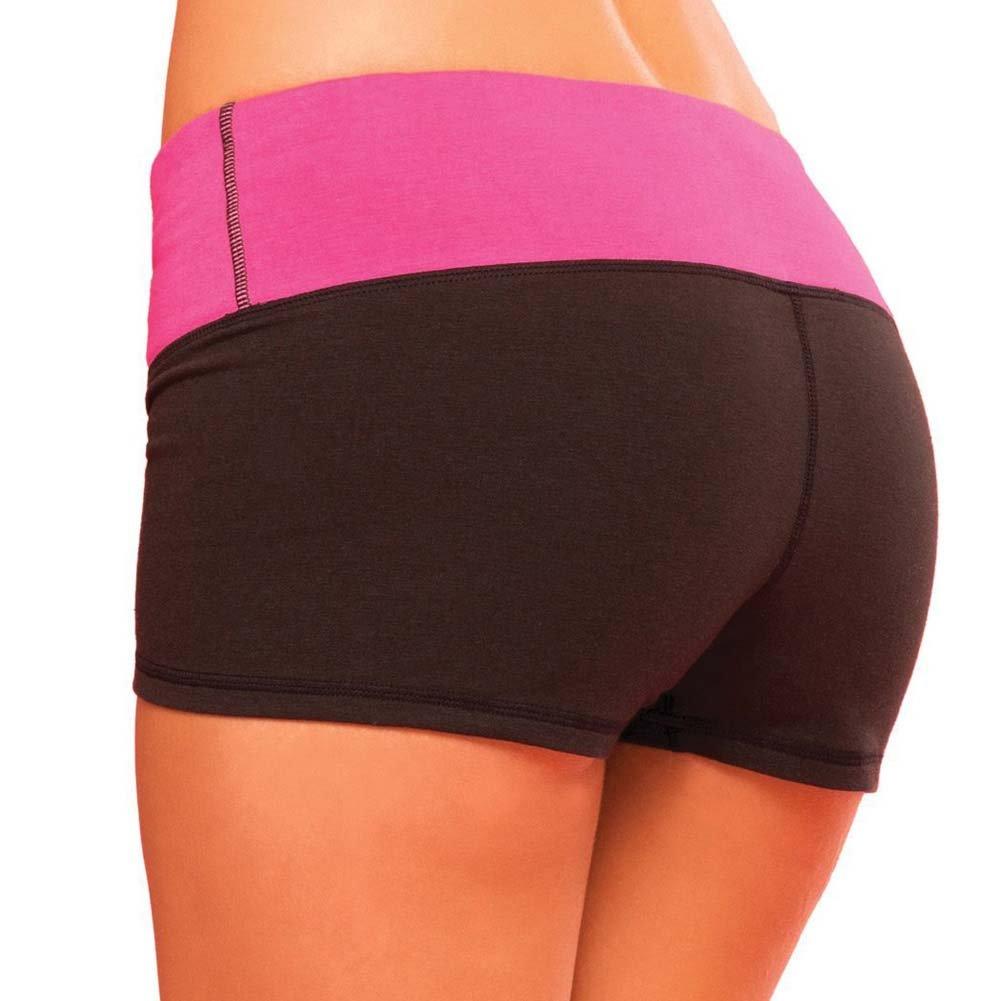 Pink Lipstick Sweat Yoga Shorts Small Black - View #2